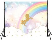 7x5FT Rainbow Sky Gold Unicorn Stars Baby Custom Photo Background Telón de fondo de vinilo