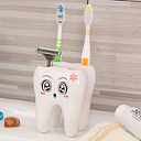 Cartoon Cute 4 Hole Fashion Tooth Style Toothbrush Holder Bracket Container for Bathroom - White