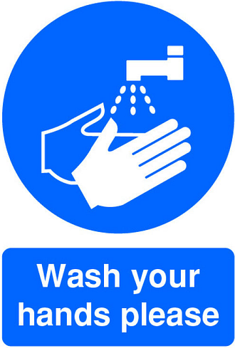 Extra Value A5 Self Adhesive Instruction Sign - Wash Hands