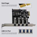 Cuatro puertos USB 3.0 Tarjeta de expansión PCI-E Super Fast 5Gbps Adaptador PCI Express Tarjeta de conversión Módulo de fuente de alimentación para PC de escritorio con soporte de perfil bajo de 2U