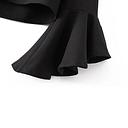 Las mujeres del bordado recortada Top floral Apliques cuello en V asimétrica de la llamarada mangas Recortable cultivos blusa superior Negro