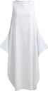 Mujeres Maxi vestido de túnica sin mangas más bolsillos de tamaño O cuello suelto mori swing vestido de tanque blanco / rojo