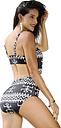 Nuevas mujeres atractivas imprimen el acolchado del traje de baño de dos piezas Bodycon inalámbrico que baña el traje de baño de la playa negro