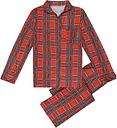Familia Niñas Niños Niños Juego de pijama A cuadros Mangas largas Ropa de dormir Trajes Ropa de casa Niño Pantalones largos superiores