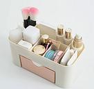 Ahorro de espacio Escritorio Maquillaje cosmético Almacenamiento Cajón Tipo de caja 6 Rejillas Cepillo Porta lápiz labial Rosa