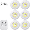 6 Pack 4.5V 1W COB LED Puck Light con control remoto