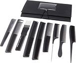 9pcs Salon Pro negra pelo peine Set plástico peluqueros corte peines Set con un estuche bolsa