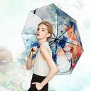 LYZA Hand-painted 3 Folds Rain Umbrella Sun Umbrella Foldable Sunscreen Umbrella