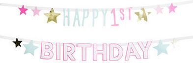 Happy First Birthday Baby Girl Banner