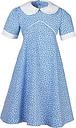 Girls' School Summer Dress, Blue/White