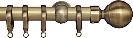 John Lewis & Partners Antique Brass Curtain Pole Kit, Dia.25mm
