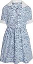 Girls' Flowery Summer School Dress, Blue/White