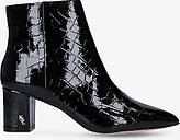 Kurt Geiger London Burlington Croc Block Heel Ankle Boots, Black