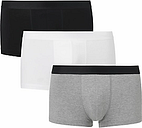 John Lewis & Partners Organic Cotton Hipster Trunks, Pack of 3, Black/White/Grey