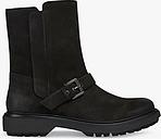 Geox Women's Asheely Nubuck Leather Buckle Calf Boots, Black
