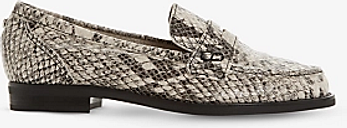 Dune Wide Fit Grady Snakeskin Leather Loafers