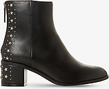 Dune Pino Leather Embellished Block Heel Ankle Boots, Black