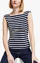 Boden Ettie Ponte Striped Top, Navy/Ivory