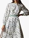 Ted Baker Everglade Abstract Stripe Flare Dress, White