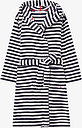 Joules Rita Stripe Fleece Dressing Gown, Blue/Cream