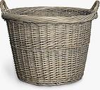 John Lewis & Partners Wicker Log Basket, Grey