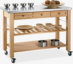 Eddingtons Lambourn 3 Drawer Beech Wood Butchers Trolley with Stainless Steel Top