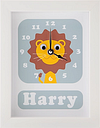 Stripey Cats Personalised Livingston Lion Framed Clock, 23 x 18cm, Blue