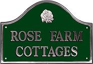 The House Nameplate Company Personalised Polished Aluminium Bridge House Sign, Rose Motif, Medium