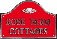 The House Nameplate Company Personalised Polished Aluminium Bridge House Sign, Flower Scroll Motif, Medium