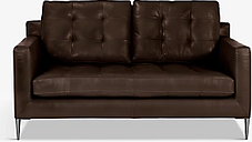 John Lewis & Partners Draper Medium 2 Seater Leather Sofa, Metal Leg