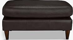 John Lewis & Partners Bailey Leather Footstool, Dark Leg