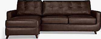 John Lewis & Partners Barbican LHF Chaise End Leather Sofa, Dark Leg