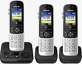 Panasonic KX-TGH723ES Digital Cordless Telephone with Automated Call Block and Answering Machine, Trio Dect, Silver