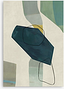 Midcentury - Abstract Canvas Framed Print & Mount, 100 x 70cm, Green