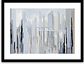 Gregory Lang - Two Bridges Framed Print & Mount, 64.5 x 84.5cm, Blue/Grey