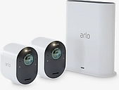 Arlo Ultra Smart Security System with Two 4K HDR Cameras, White
