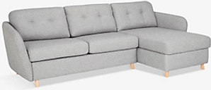 House by John Lewis Arlo RHF Chaise with Storage Sofa Bed, Light Leg