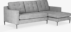 John Lewis & Partners Draper RHF Chaise End Sofa, Metal Legs