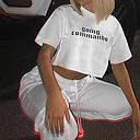 Mujer Top corto Camiseta / camiseta Top corto Cuello Barco Algodón Letras estampadas Deporte Deporte Camiseta Cima Mangas cortas Transpirable Suave Cómodo De U