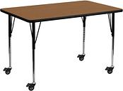 Flash Furniture Mobile 24''W x 48''L Rectangular Oak Thermal Laminate Activity Table - Standard Height Adjustable Legs