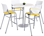 KFI Mode and Kool Table & Chair set, 21.5in W x 46.5in D x 21.25in H, White, Yellow