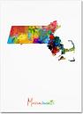 Massachusetts Map by Michael Tompsett, 24x32-Inch Canvas Wall Art