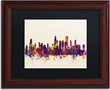 Chicago Illinois Skyline VII by Michael Tompsett in Black Matte and Wood Framed Artwork, 11 by 14""