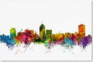 Fresno California Skyline by Michael Tompsett, 16x24-Inch Canvas Wall Art