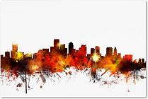 Boston Massachusetts Skyline II by Michael Tompsett, 16x24-Inch Canvas Wall Art