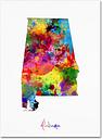 Alabama Map by Michael Tompsett, 14x19-Inch Canvas Wall Art
