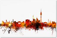 Berlin Germany Skyline II by Michael Tompsett, 16x24-Inch Canvas Wall Art