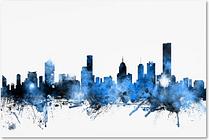 Melbourne Australia Skyline by Michael Tompsett, 16x24-Inch Canvas Wall Art