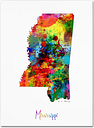 Mississippi Map by Michael Tompsett, 35x47-Inch Canvas Wall Art