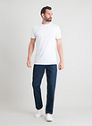 Men's Dark Denim Straight Leg Jeans With Stretch